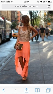 skirt,tank top,sequins,coral,gold,sparkle,high low skirt