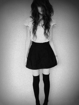 skirt black black skirt top socks black socks
