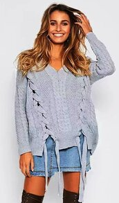 sweater,grey,double slit,double lace up,lace up,loose,loose sweater,v neck,v neck pullover,white sweater,white oversized sweater,long sleeves,fall outfits,winter outfits,casual,casual sweater,holidays,fashion inspo,fashionista,cute,cute top,jeans top,braided sweater,slit,moraki,grey sweater,knit,knitwear,knitted sweater,oversized sweater,oversized,deep v neck sweater,fall colors,winter sweater,girly,girl,girly wishlist,style,stylish,style me,streetstyle,streetwear,street