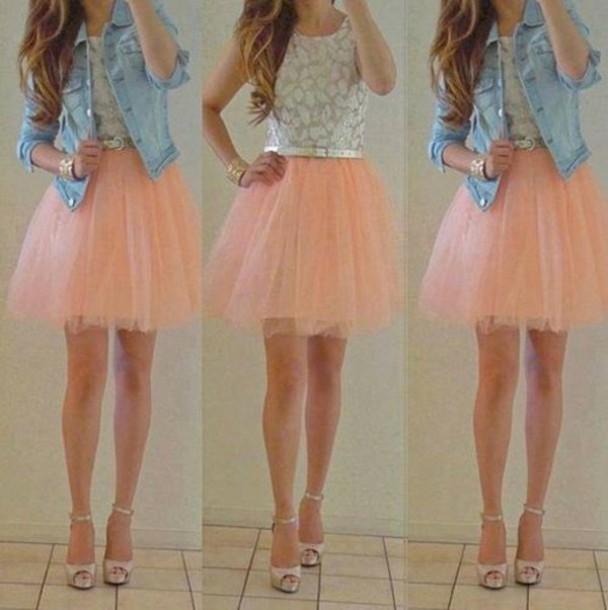 shirt, tulle skirt, light pink, denim jacket - Wheretoget