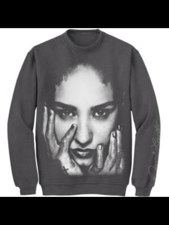 sweater demi lovato grey sweater merchandise band merch warm