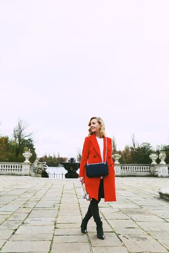framboise fashion blogger jeans bag coat red