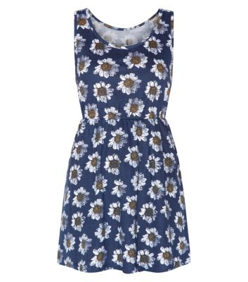 Brave Soul Blue Daisy Print Sleeveless Waist Dress