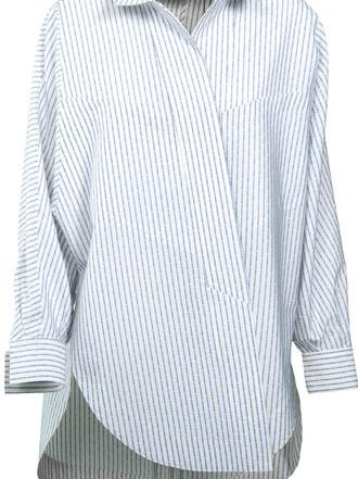 shirt striped shirt white top