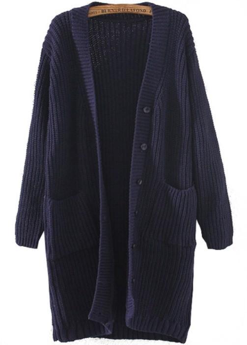 Neck knit long line loose cardigan