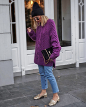 sweater,tumblr,knit,knitwear,knitted sweater,denim,jeans,blue jeans,shoes,gold shoes,beanie,sweater weather,purple
