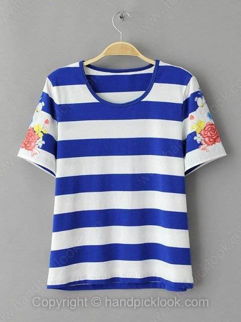 Blue Round Neck Short Sleeve Striped & Floral Print T-Shirt - HandpickLook.com