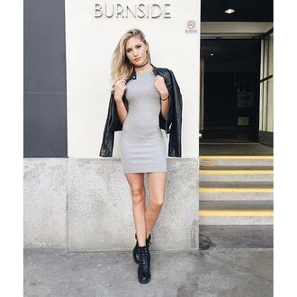 dress tank dress casual dress grey summer angl leather jacket