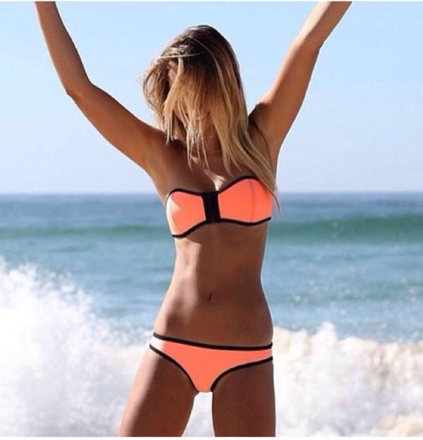 swimwear pink black bikini top bottum coral blue teal mint swimwear tanning tan summer suit strapless cute outline beach