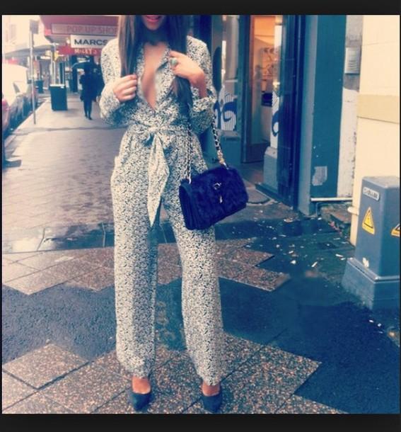 pants jumpsuit playsuit floral