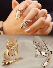 jewels,pretty,girly,ring,gold,love,cool,nail armour,nails,hand ring,finger ring,jewelry,accessories