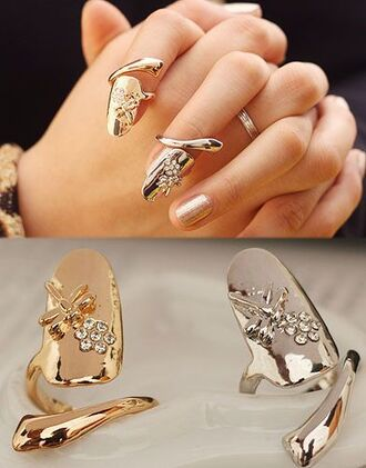 jewels pretty girly ring gold love cool nail armour nails hand ring finger ring jewelry accessories