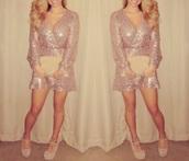 romper,dress,sequin dress,prom dress,beige dress,elegant,glitter,fashion,nude,cute dress,style,pretty,new year's eve,sexy dress,party dress,fiesta,sweet,gold sequins,short dress,white dress,shimmer,disney,princess dress,rose gold,bronze,long hair,beautiful