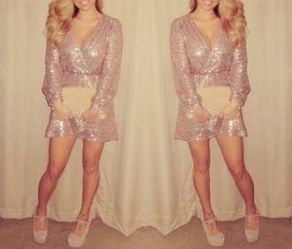 romper dress sequin dress prom dress beige dress elegant glitter fashion nude cute dress style pretty new year's eve sexy dress party dress fiesta brown dress sweet gold sequins short dress white dress shimmer disney princess dress rose gold bronze blonde hair long hair beautiful