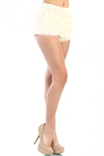 LoveMelrose.com From Harry & Molly   LACE SHORT PANTS - IVORY