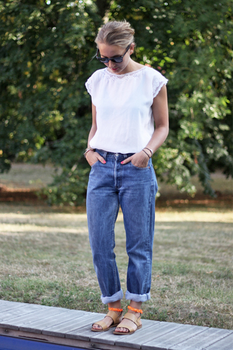 jane's sneak peak blouse jeans sunglasses