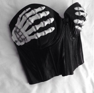 shirt corset skeleton hands bustier black halloween spooky underwear bra skeleton hands bones tank top top skeleton hand bustier top i need this omg *.* blouse black top crop tops sceleton grunge t-shirt goth hipster pastel goth skeleton hands crop top