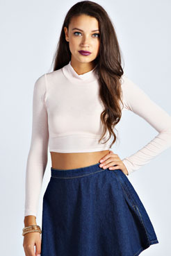 Alexa High Neck Longsleeve Crop Top at boohoo.com