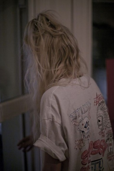 white large shirt oversized stussy awesome blonde hair hair