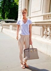 pants,cream/tan pants,white shirt,purse,bag,gold sandels,sandels,white