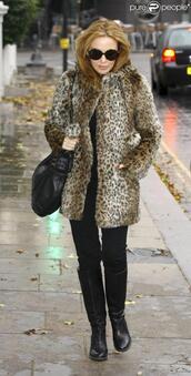 kylie minogue,leopard print,leopard coat,jacket