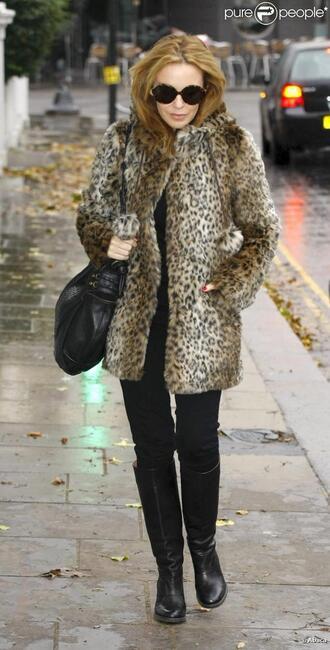 kylie minogue leopard leopard coat jacket