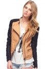 ROMWE | Color Block Fake Leather Yellow Jacket, The Latest Street Fashion