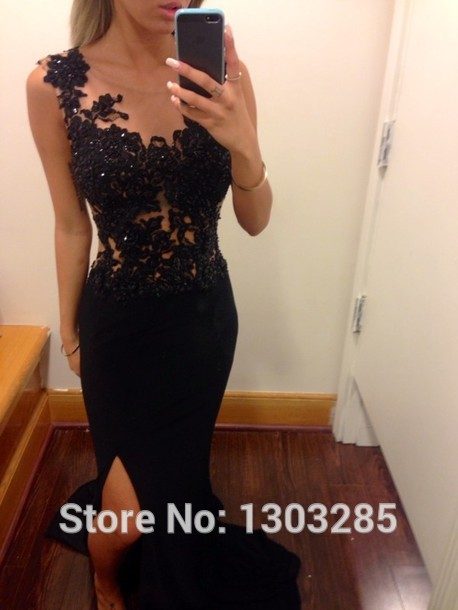 Aliexpress.com : buy vestidos de formatura o neck with beaded black lace natural waist slit side floor length mermaid satin prom dresses from reliable cap sleeve bridesmaid dress suppliers on sexybridalqueen