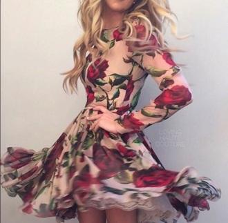 dress roses dusty pink printed dress long sleeve dress fall outfits fall dress big pattern