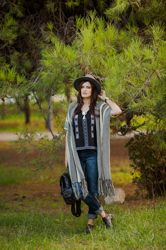 the bow-tie blogger cardigan blouse jeans hat shoes