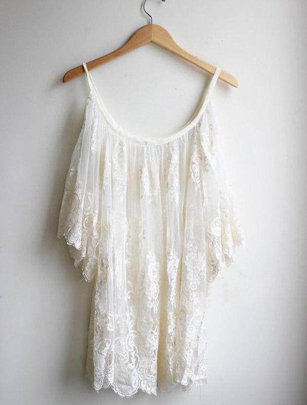 Open shoulder white floral lace dress · fashion struck · online store powered by storenvy