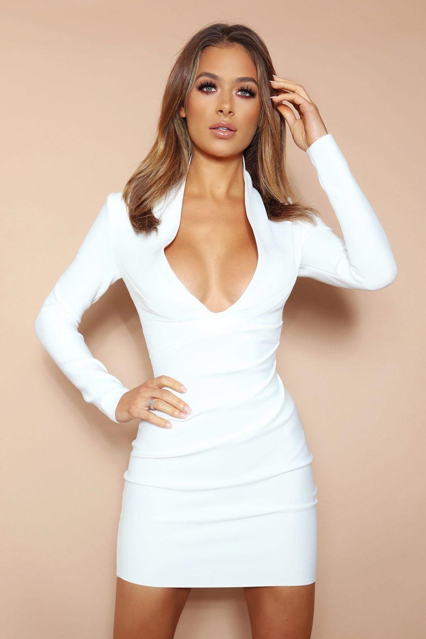 The Aubrielle White Bandage Mini Dress
