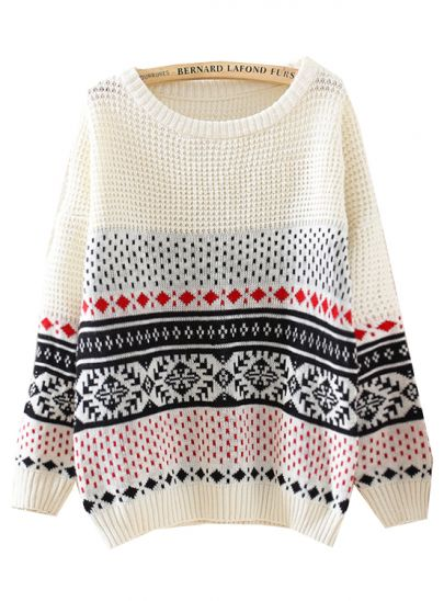Beige Long Sleeve Diamond Patterned Loose Sweater - Sheinside.com