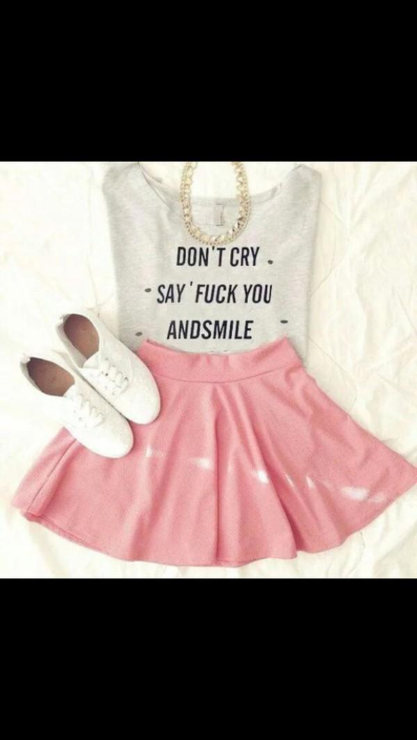 shoes skirt jewels shirt bag top t-shirt pink skirt