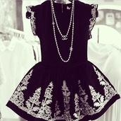 dress,black,skater dress,gold,chanel,pearl,classy,elegant,designer,fashion,style