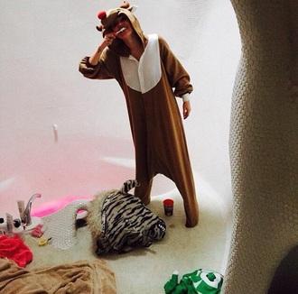 pajamas miley cyrus pajamas deer rudolf christmas