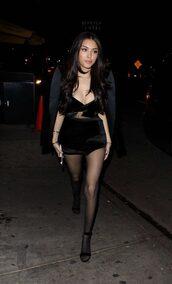 dress,black dress,mini dress,madison beer,plunge dress,plunge v neck,all black everything,bustier dress