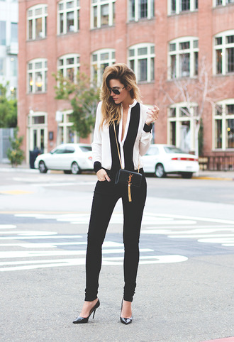 jacket fashionista leather pants black and white