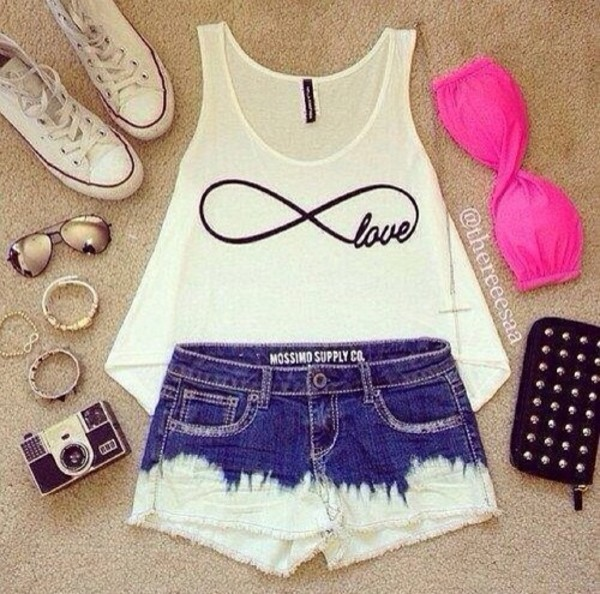 t-shirt underwear shoes shirt white tank top bandeau shorts High waisted shorts high waisted denim shorts tank top infinitiy scarf hot pan hot pans cute pink top infinity infinity love ombre short