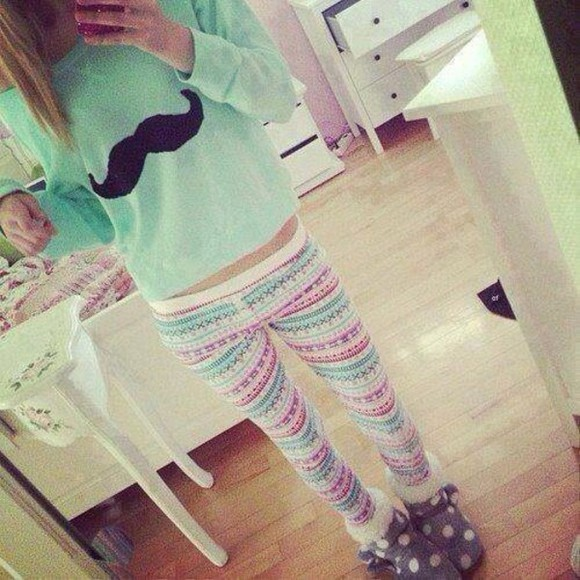sweater pants pink moustache mint green cozy aztec leggings winter outfits