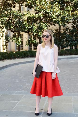 poor little it girl blogger white top red skirt pouch midi skirt