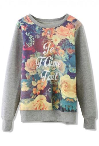 Retro Floral Print Sweater in Grey - Retro, Indie and Unique Fashion