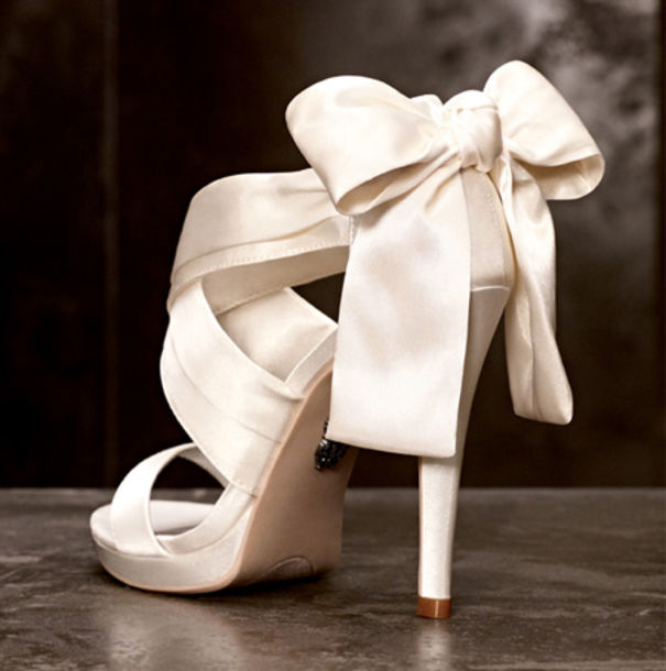 Shoes: wedding, white, satan, open toes, ribbon, high ...