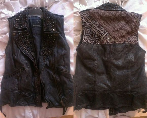 studs jacket grunge all saints owain vest leather vest hippie boho embroidered leather jacket festival