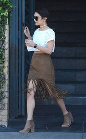skirt,fringes,coachella,ankle boots,top,crop tops,sunglasses,vanessa hudgens,hairstyles,spring outfits