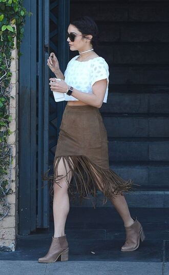 skirt fringes coachella ankle boots top crop tops sunglasses vanessa hudgens hairstyles spring outfits