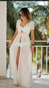 dress,creme dress,bikini,swimwear,cover up,cover,white,sky blue,lace,long dress,all white everything,sunglasses,summer outfits,beach dress,beach,clothes,bikini cover up,lace dress,sheer,romantic summer dress,bathing suit cover up,sexy dress,white dress,ivory dress,maxi,jacket,swimsuit cover up,cardigan,cute,bold,amazing look,oversized cardigan,coat,summer coat,lace duster?,white lace sundress,summer dress,green bikini,mesh dress,maxi dress,swimwear two piece,beach party,blue bikini