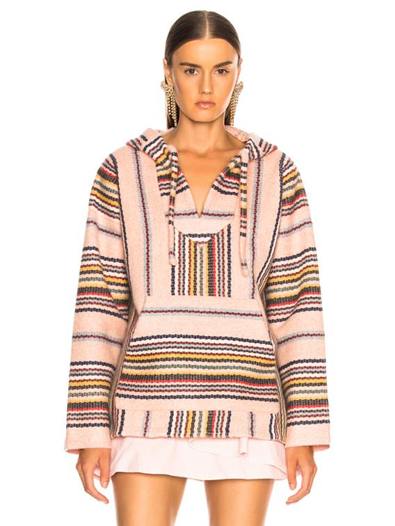 ALANUI Baja Striped Sweatshirt in Soft Pink Melange   FWRD