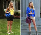 bag,blouse,blake lively,shirt,blue skirt,serena van der woodsen,gossip girl