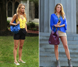 bag blouse blake lively shirt blue skirt serena van der woodsen gossip girl